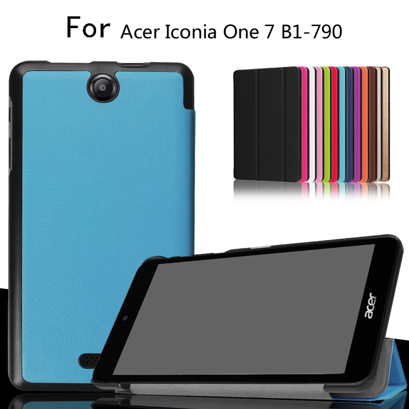Slim Magnetic Folding Flip PU Case Cover For Acer Iconia One 7 B1-790 B1 790 7.0 inch Tablet Skin Case slim print case for acer iconia tab 10 a3 a40 one 10 b3 a30 10 1 inch tablet pu leather case folding stand cover screen film pen