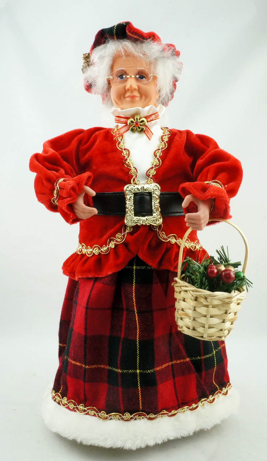 Cosette 18 New arrival Red Velvet Mrs Claus Christmas Decoration Glasses Basket Home Collection