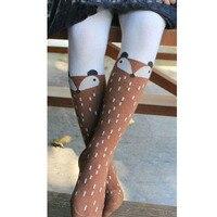 Animal Fox Girls Winter Tights Kids Knee High Socks Bas Collant Enfant Children Tights Cartoon Toddler