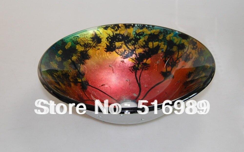 Faucet Bathroom Porcelain Glass Vessel Vanity Sink Basin & Pop Up Drain Combotree145