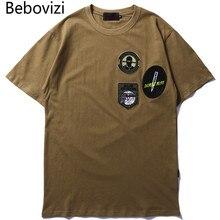 Bebovizi Men Badge Embroidery Cotton Tshirts Streetwear Hip Hop Casual T-shirt Fashion Army Green Short Sleeve Tee Shirt Homme цены