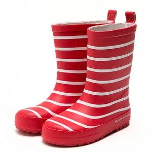Image 2 - Botas de chuva, novas botas com listras para crianças, meninos e meninas, cano médio, à prova d água, antiderrapante, de borracha escola menino menina vermelho