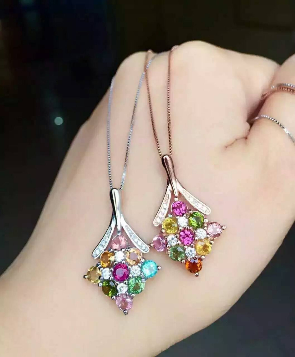natural multicolor tourmaline pendant S925 silver Natural gemstone Pendant Necklace trendy Lucky torus Flowers women jewelry natural tourmaline pendant s925 silver natural gemstone pendant necklace elegant friendship boat lucky women girl gift jewelry