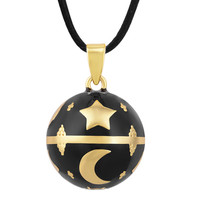 Eudora 20 mm Black Pregnancy Chime Ball Star Moon Harmony Necklace Pendant Mexcian Bola Balls For Women fine Jewelry N14NB308