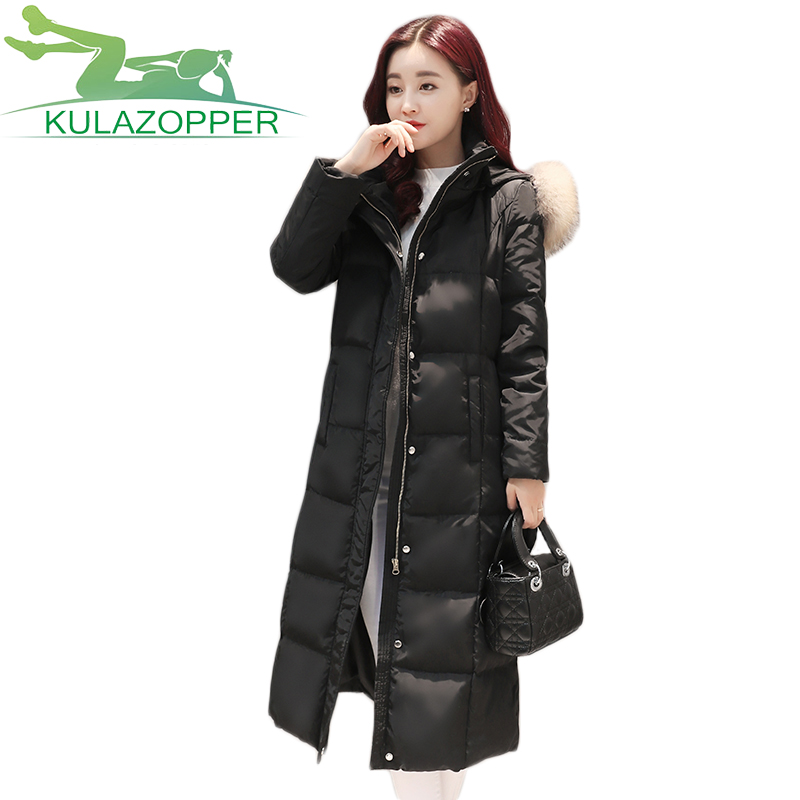 Parka Women Winter Jacket 2017 New Coat Hooded Long Section Thickening Large Fur Collar down Padded Cotton Jacket ky079 winter feather cotton women outwear long section thick section slim hooded coats large fur collar large size down jacket lx165