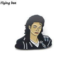 Flyingbee Fashion Singer Enamel Pin For Clothes Bags Backpack badge Personality Brooch Shirt Lapel Pins X0193 flyingbee fashion brooch enamel pin for clothes backpack badge personality hat pin creative pins x0175