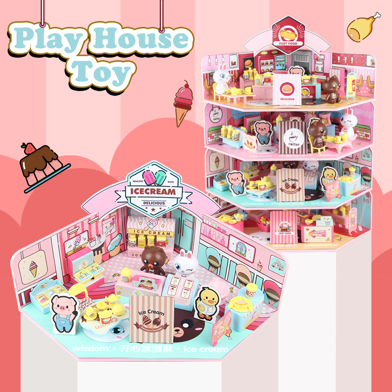 4in1 Doll House Supermarket Cafe Restaurant Model Play