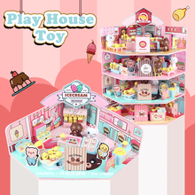 4in1 Doll house Supermarket cafe restaurant Model play Furniture Diy Miniature Christmas Birthday Gift Toys for Children