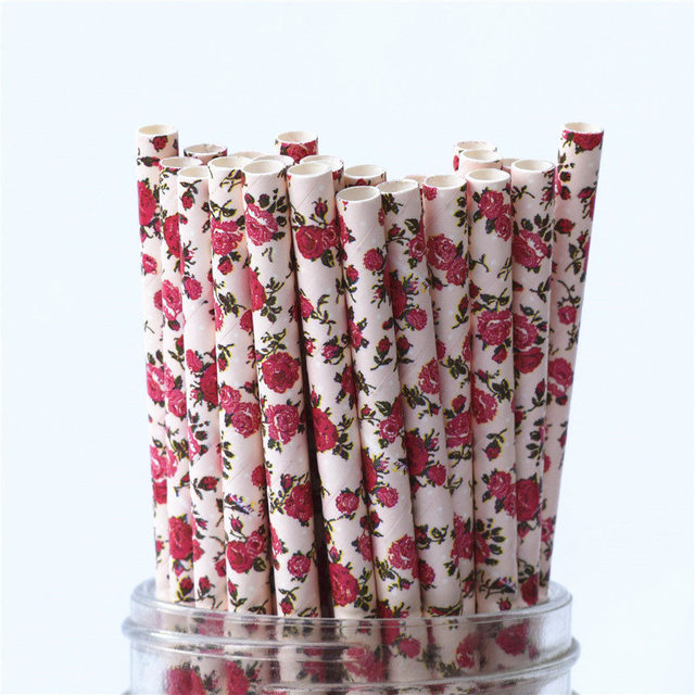 Biodegradable Vintage Retro Floral Drinking Paper Straws