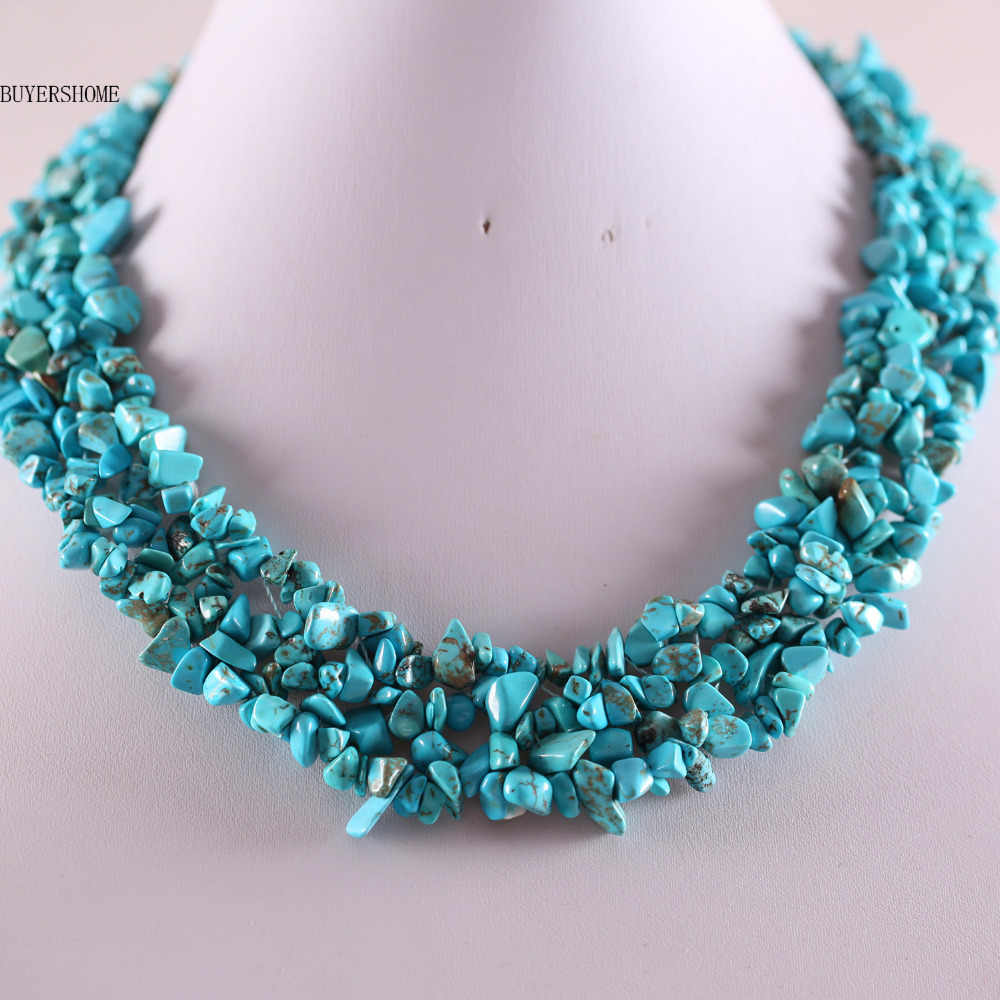 "Free Shipping Free Shipping Jewelry 4X8MM Blue Howlite Chip Beads Nylon Line Weave Necklace 18"" 1Pcs E034"