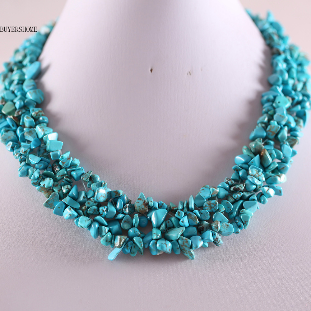 все цены на Free Shipping Free Shipping Jewelry 4X8MM Blue Howlite Chip Beads Nylon Line Weave Necklace 18 1Pcs E034