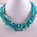 Free Shipping Free Shipping Jewelry 4X8MM Blue Howlite Chip Beads Nylon Line Weave Necklace 18