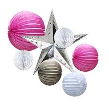 Pink Light Colour Daily Decoration Set Pleated Paper Lanterns Stars Honeycomb Balls Wedding  Birthday Party Hanging Decor