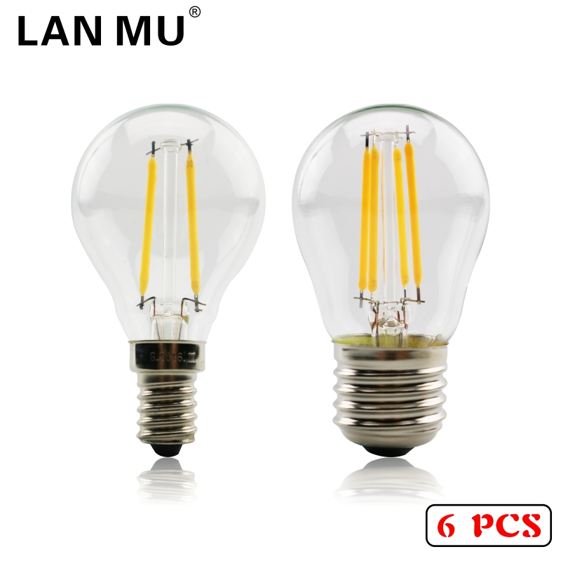 LAN MU 6PCS LED Bulb E27 G45 AC 220V-240V E14 Vintage 2W 4W 6W Edison lamp Filament Decor Lamp Led Specialty Decorative Light