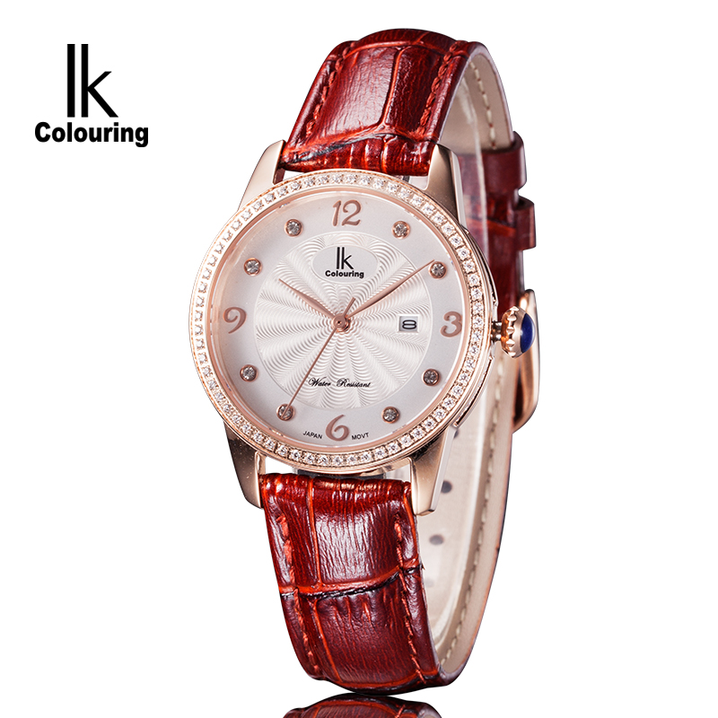 где купить IK Luxury Brand Women's Quartz Watches Relogio Feminino Day Crystal Genuine Leather Waterproof Wristwatch Gift Box Free Ship по лучшей цене