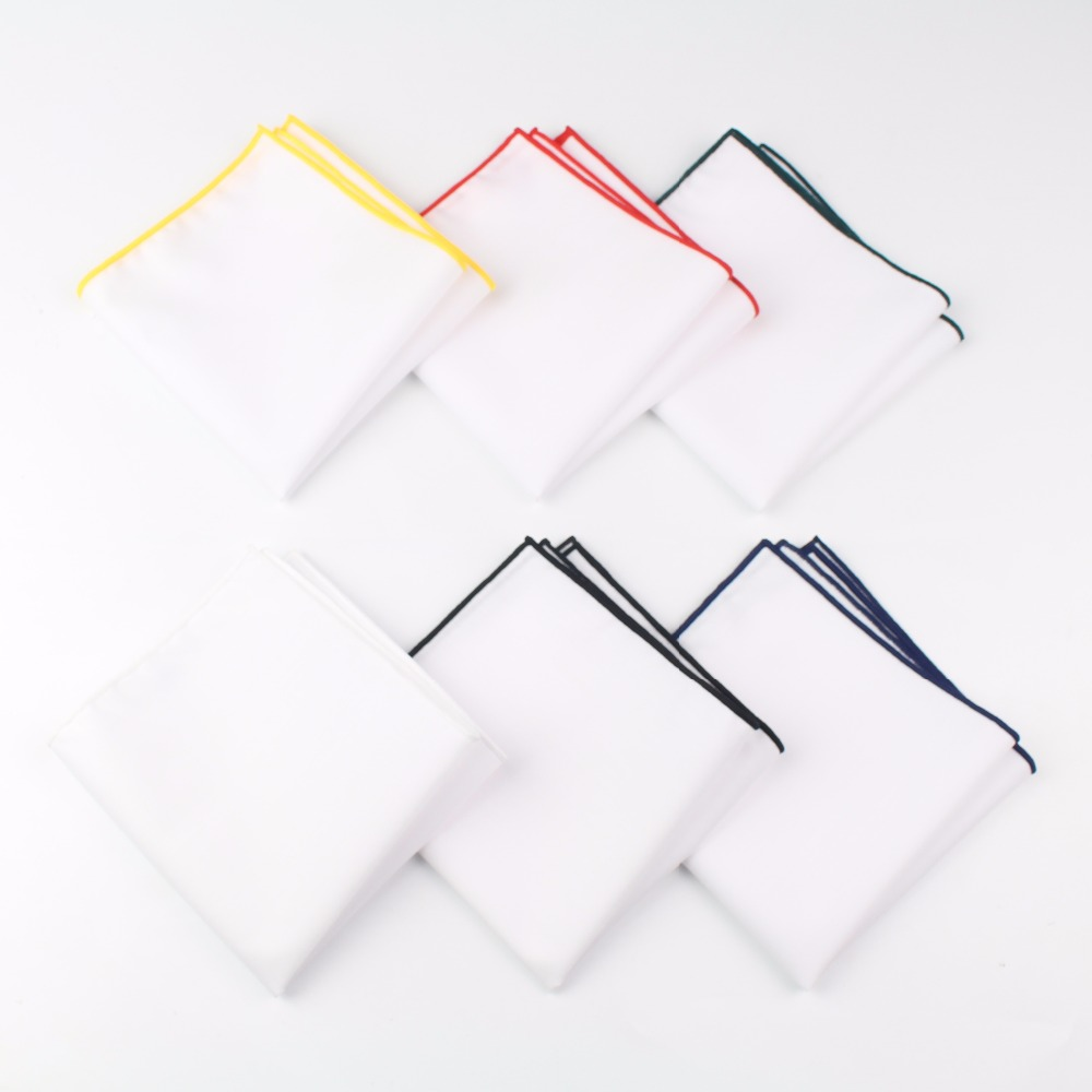 Men's Sunny Style Cotton Handkerchief White Pocket Square Colorful Edge Hankies Towel Casual 23*23cm