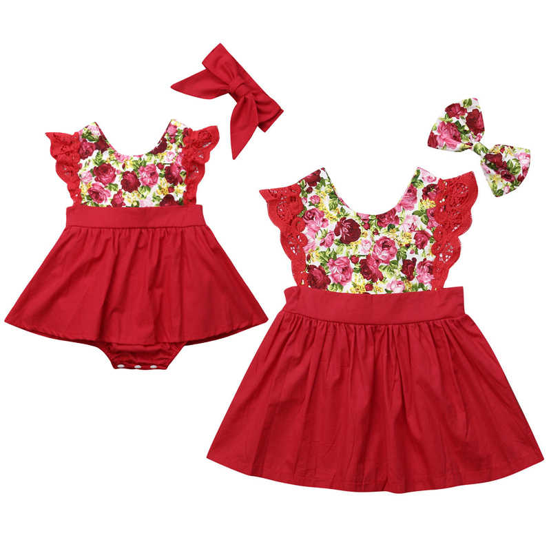 ba657876cca04 Christmas Baby Girls Sister Match Clothes Lace Sleeveless Floral Tutu  Skirted Romper Girls Dress Xmas Family Matching Clothes