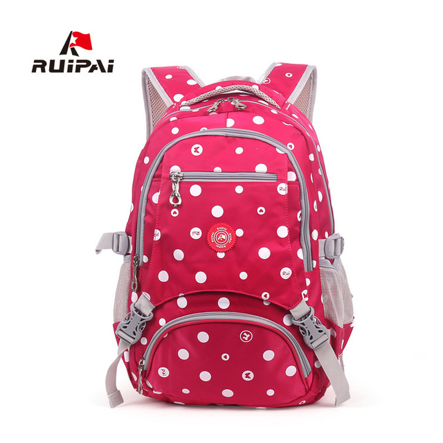 5bd9165805 RUIPAI Dot Printed Polyester Backpack Schoolbag Comfortable Satchel Backpack  For Kid Baby s Bags School Bag Student