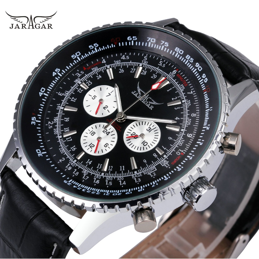 WINNER Men Casual Automatic Mechanical Watch Black Leather Strap 3 Sub-dial 6 Hands Top Brand Fashion Design Wristwatch Gift forsining classic series black genuine leather strap 3 dial 6 hands men watch top brand luxury automatic mechanical watch clock