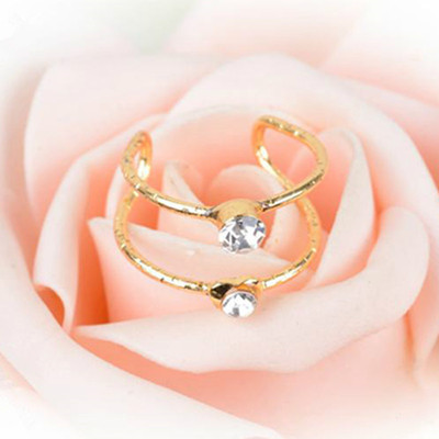 New Charming Crystal Rings For Women Adjustable Wedding Ring Jewelry Double Circle Index Finger Rings Lovely Girls Gift 2 Styles