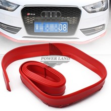 Red 2.5M Front Bumper Rubber Protector Lip Splitter Body Spoiler Car styling Multi deflector Car Rubber Strip 60mm Width 1pcs