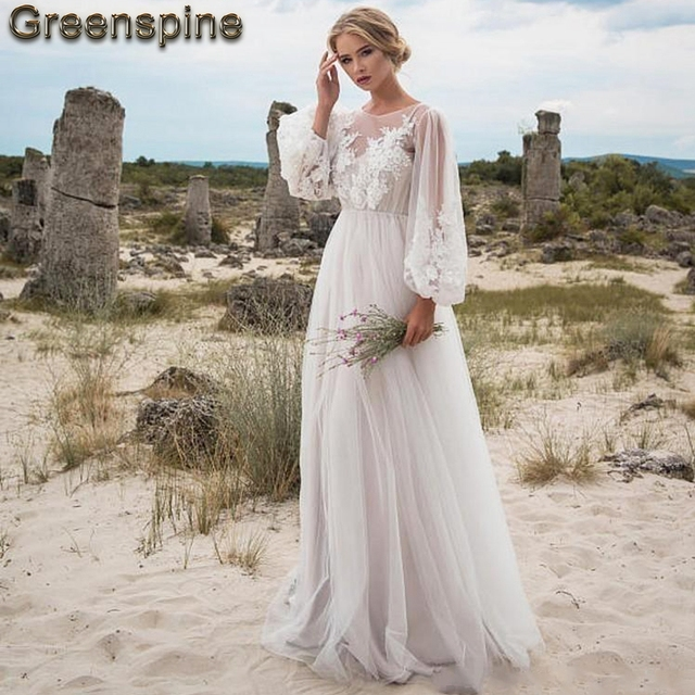 783c3c3b74 Boho Wedding Dress 2019 New Designer Sexy Women Beach Wedding Dresses Long  Sleeve Vintage Lace Appliques