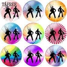 TAFREE Fashion Dancer Waltz 12mm 15mm 20mm Glass Cabochon Dome Cover Cameo Pendants Settings DIY Beads