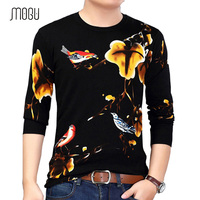 MOGU Men's Printed Sweater 2017 Autumu New Fashion Casual Mens O-Neck Sweater Slim Fit New Year's Sweater For Men Men's Clothing