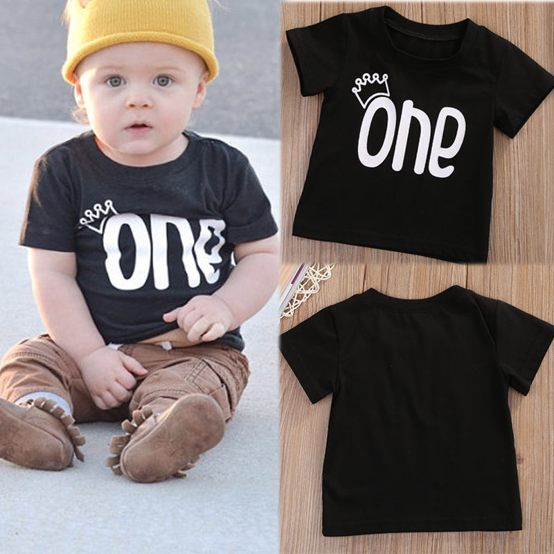 Unisex-Baby-Boys-Girls-Clothes-Short-Sleeve-Black-Letter-T-Shirt-Short-Sleeve-Cotton-Tees-Tops-T-Shirts-Clothing-0-24M-1