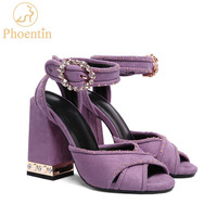Phoentin purple sandals women 2018 summer ankle strap buckle rhinestone sandals with rivet peep toe shoes two heel hights FT400