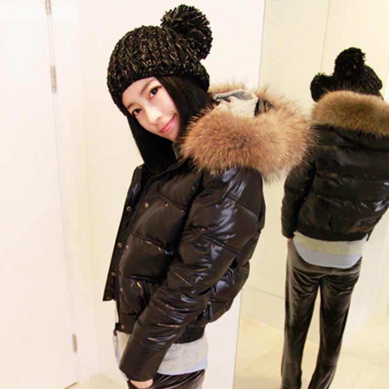 Ailegog 2019 Winter Frauen Echt Waschbären Pelz Kragen Weiße Ente Unten Mit Kapuze Jacke Kurze Mäntel Weibliche Dünne Beiläufige Unten Oberbekleidung