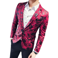 2018 Fashion New Men's Casual Slim Flower Suit Coat / Man's Printed Floral Fit Blazer Jacket