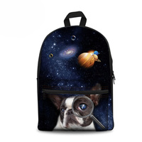 Customized Galaxy French Bulldog Printing Children School Bags For Girls Teenagers Backpacks Canvas Schoolbags Mochila Infantil