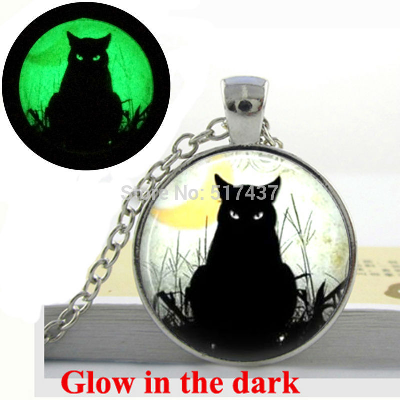 Glow in the dark necklace Black Cat Necklace Art Pendant zinc alloy glass cabochon necklace glowing necklace