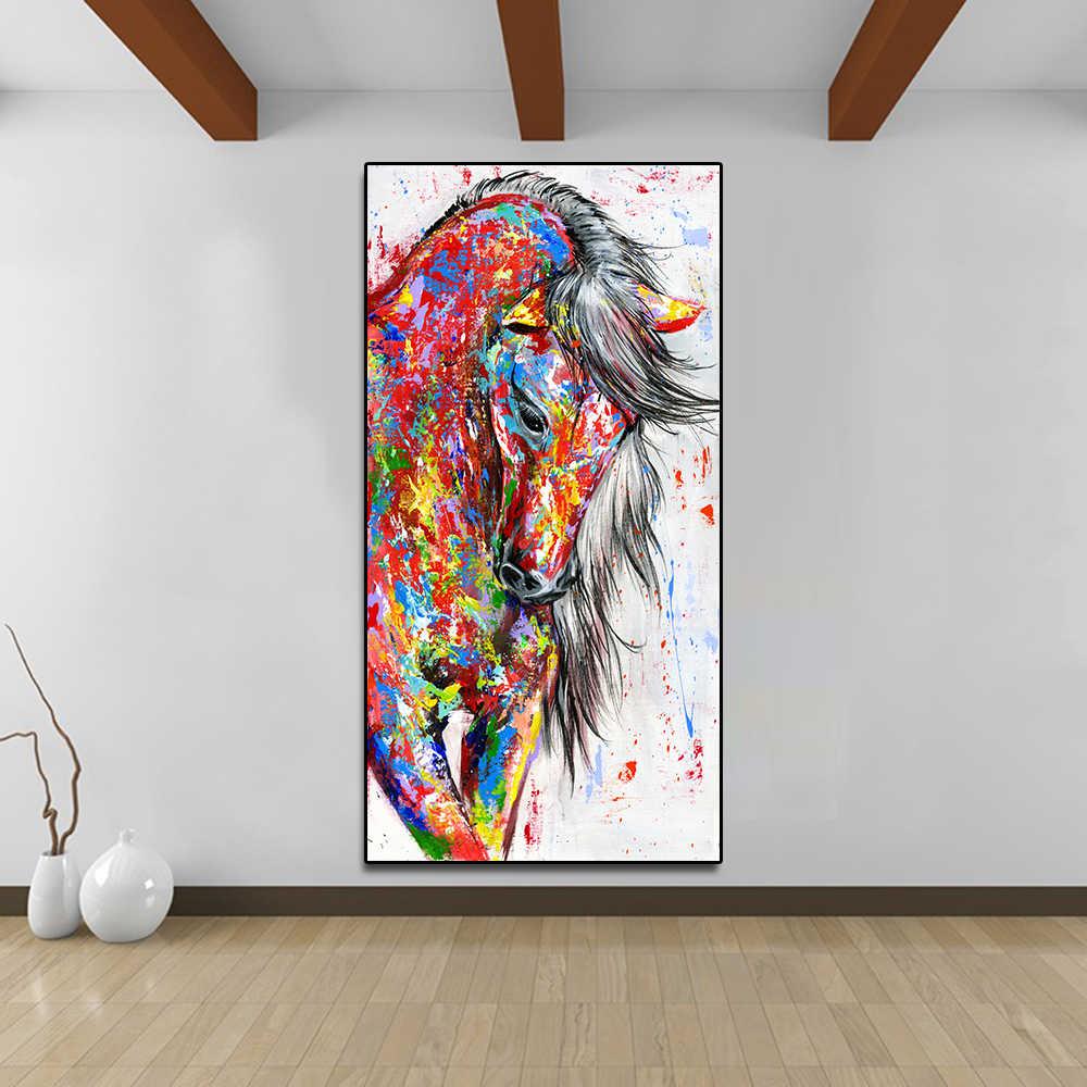AAVV duży duży rozmiar obraz olejny malowanie zwierzę obrazy na ścianę do salonu Home Decor obraz na płótnie bieganie czerwony koń bez ramki