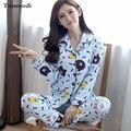 Mulheres Sono Pijama Conjunto Cardigan Sleepwear Primavera Outono Algodão Calças Sloose da Longo-luva Pijamas Pijamas plus size 3XL