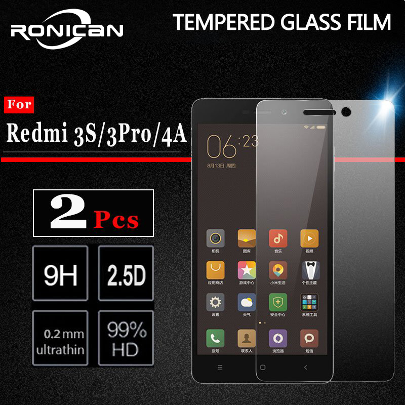 2 Pieces Xiaomi Redmi 3S 3 S Pro Tempered Glass Screen Protector Film Xiomi Redmi 3 S X Pro Prime 4A Phone Tempered Glass 3Pro