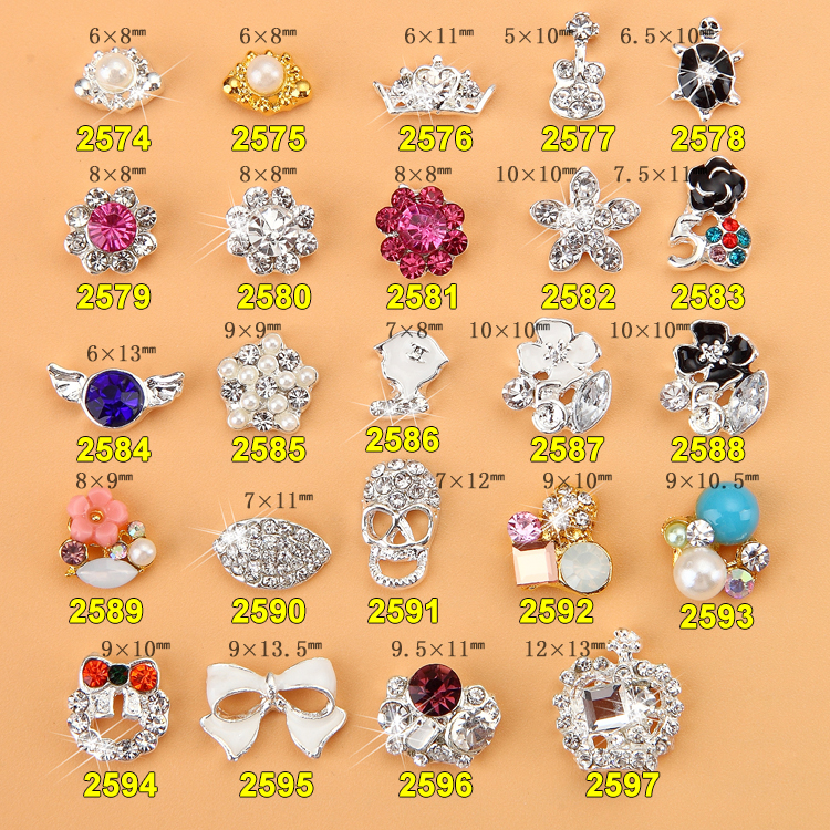 Wholesale 500x Professional Production 3D Alloy Nail Art Decoration Glitters Rhinestones AAAgrade Rhinestones Nail Bow