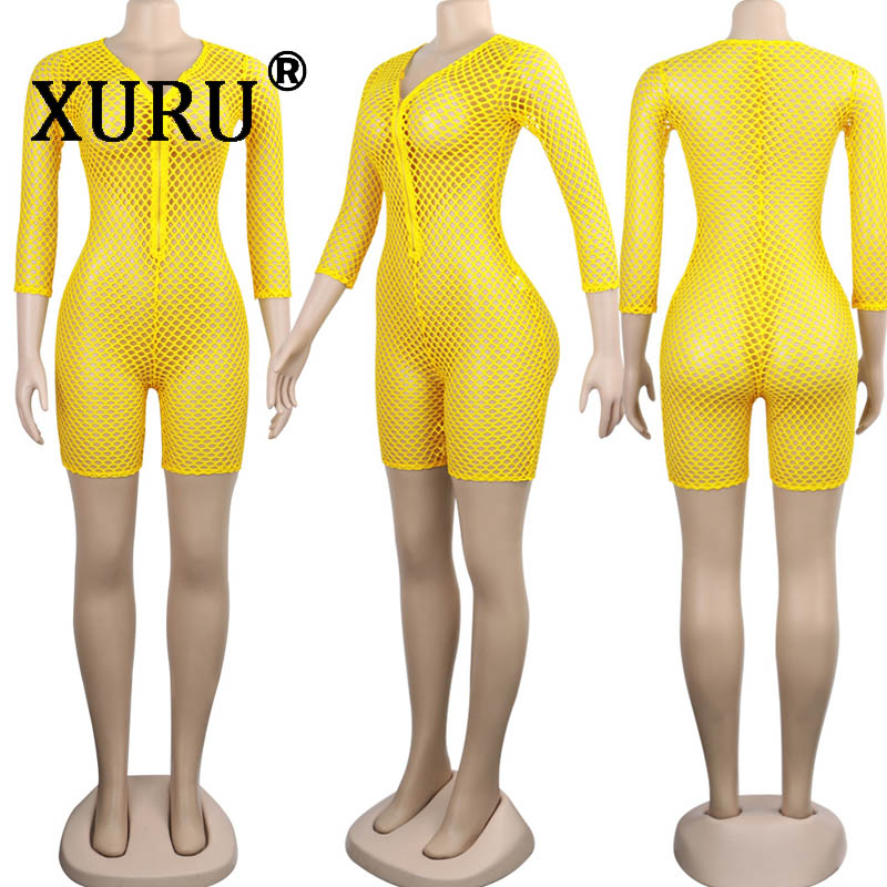 XURU summer new women 39 s mesh tights sexy nightclub party perspective slim jumpsuit deep V neck zipper jumpsuit in Rompers from Women 39 s Clothing