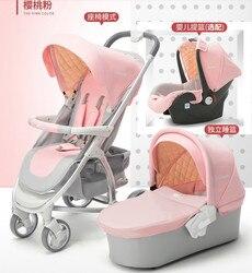 Hohe landschaft baby kinderwagen eine taste folding auto vier rad stoßdämpfer zwei-weg baby schlafen warenkorb