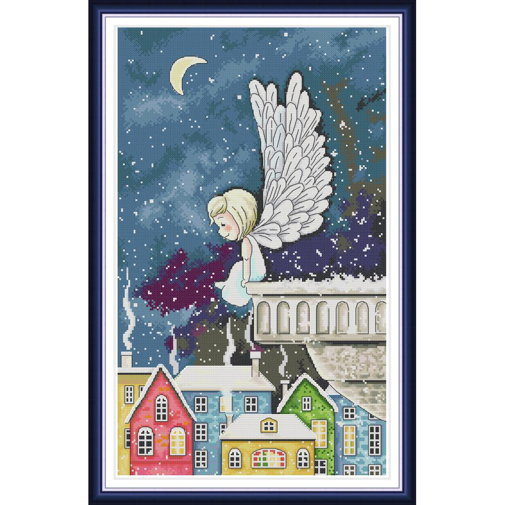 Joy sunday Night snow angel Chinese cross stitch kits Ecological cotton clear stamped printed 11CT gift DIY decorations for homeJoy sunday Night snow angel Chinese cross stitch kits Ecological cotton clear stamped printed 11CT gift DIY decorations for home