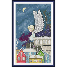 Joy sunday Night snow angel Chinese cross stitch kits Ecological cotton clear stamped printed 11CT gift DIY decorations for home