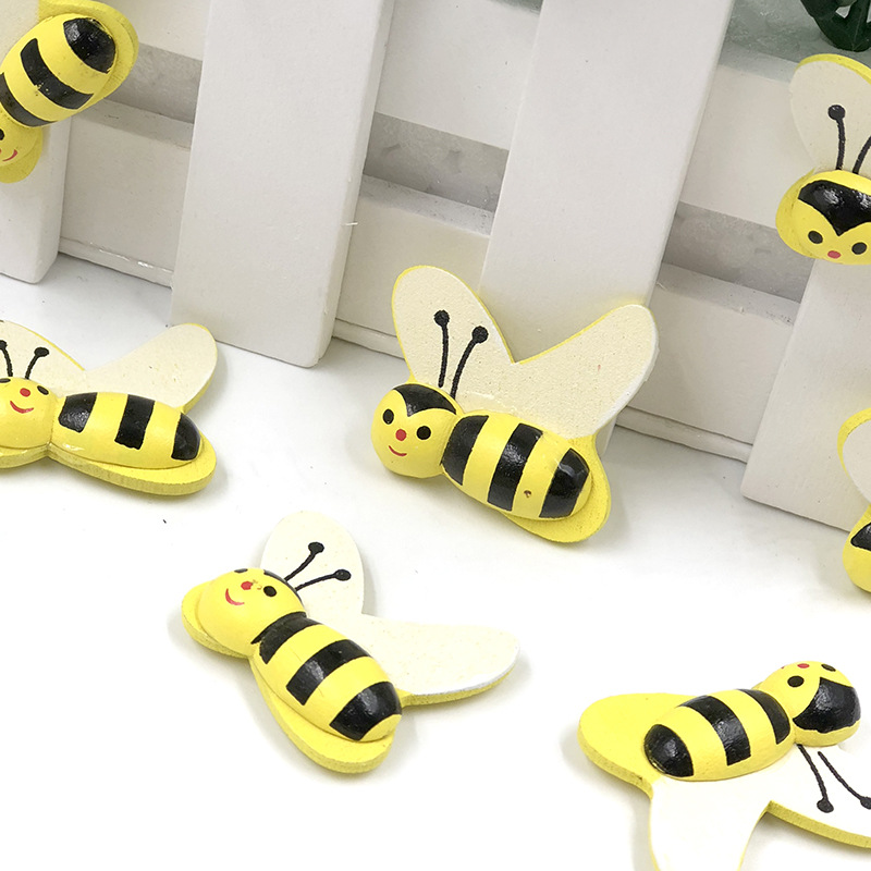 50pcs kids bumble bee birthday party invitation cards decorate mini self adhesive honey bee beads hand craft wood