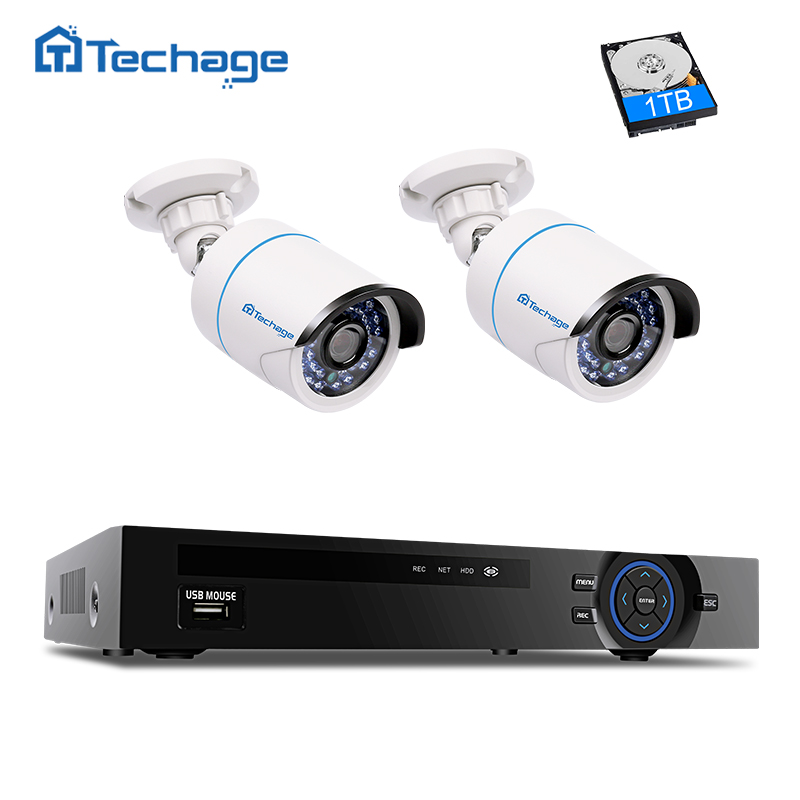 Techage Full HD 4CH 1080 p NVR POE CCTV Système 2.0MP PoE IP Caméra Extérieure Vidéo Kit De Sécurité De Détection De Mouvement APPLICATION Téléphonique gratuite Vue