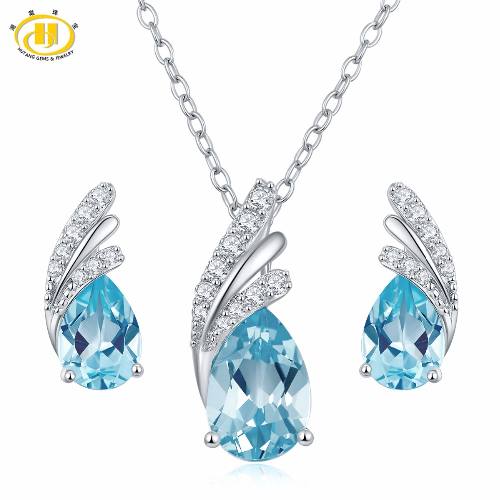 Hutang Stone Jewelry Sets Natural Gemstone Sky Blue Topaz 925 Sterling Silver Wing Fine Fashion Jewelry For Women's Gift New