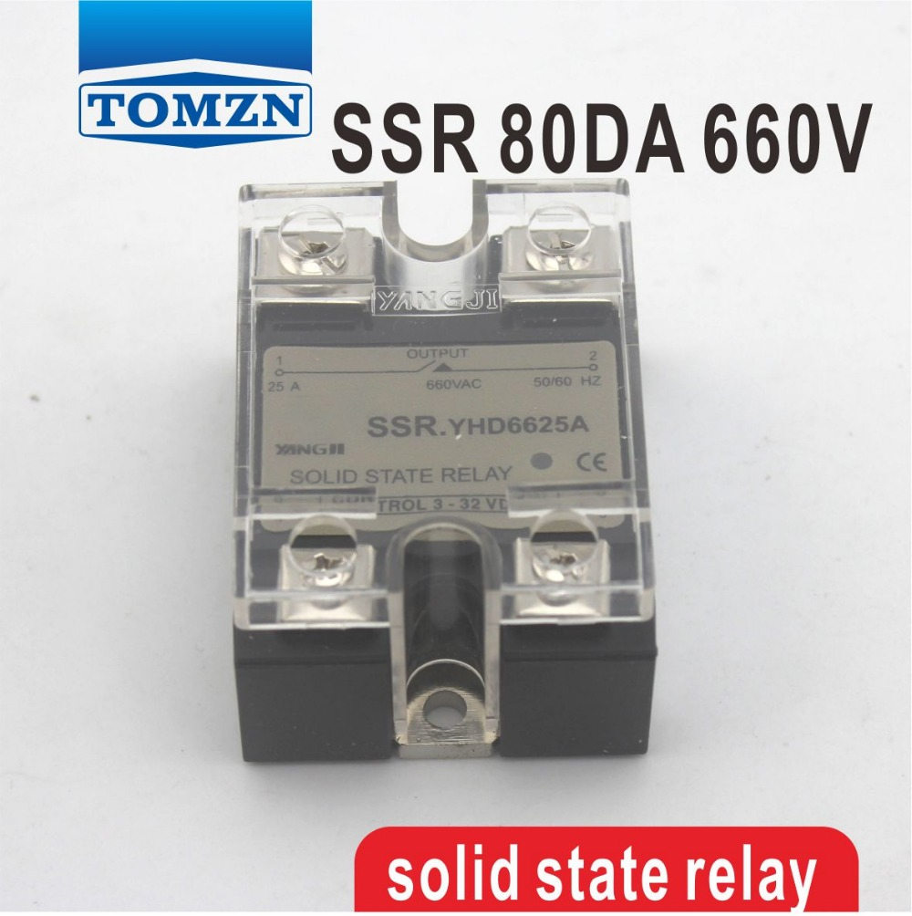цена на 80DA SSR Control 3-32V DC output 48~660VAC High voltage single phase AC solid state relay