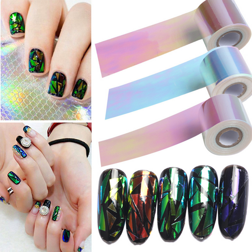 5cm*100m Big Roll NEW Broken Glass Pieces Mirror Foil Tips Stencil Decal Aurora Nail Art Sticker Cute Tools Nail Art Decorations 2016 new arrival 5cm 100m roll nail aurora stickers broken glass symphony paper nail glassine paper for 3d nail art decorations