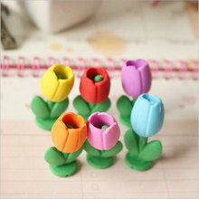 2Pcs/lot Stationery Supplies Kawaii Cartoon Pencil Erasers cute Flowers office Correction Kid learning Gifts