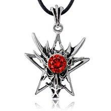 Men's Dragon Star Rhinestone silver tone Titanium Stainless Steel Punk leather chain Pendant Necklace X578