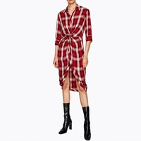 NEW Women Dress Sexy Tie Waist Office Dress Irregular Plaid Shirt Dresses Women Clothes 0105 59